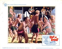 Out of Sight Lobby Card Starring Jonathan Daly and Karen Jensen - 1966