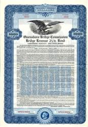 Owensboro Bridge Commission Bridge Revenue Bond - Kentucky 1938