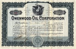 Owenwood Oil Corporation 1921 - Bi Plane Vignette - Fort Worth, Texas