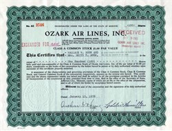 Ozark Air Lines, Inc. issued to Dodger Great, Wally Moon -  Missouri 1959