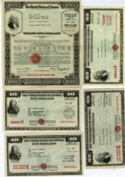 Patriotic and scarce quintet of War and Savings Bonds