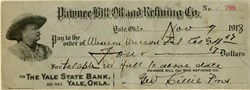 Pawnee Bill Oil and Refining Company signed by Pawnee Bill and issued to Western Union Telephone Company -  Yale, Oklahoma 1918