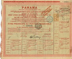 Panama Canal Certificate - Reparations Stamp -1893