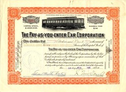 Pay-as-you-enter Car Corporation - New Jersey 1909