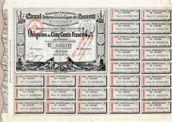 Panama Canal Bond with coupons dated 1884 - Ferdinand de Lesseps
