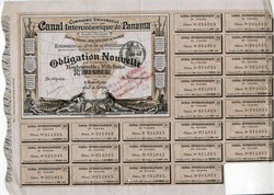 Panama Canal Stock for 1000 Francs - Director was Ferdinand de Lesseps - 1886