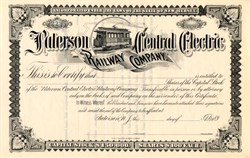 Paterson Central Electric Railway Company - New Jersey 1892