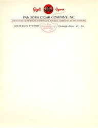 Pandora Cigar Company Letterhead - Philadelphia, Pennsylvania - 1941