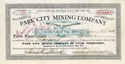 Park City Mining Company - Parleys Park, Uintah Mining District, Summit County, Utah Territory - 1885