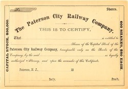 Paterson City Railway Company - New Jersey 18__