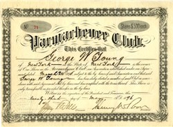 ' RARE Parmachenee Club signed by Henry W. Poor (Standard & Poor's Fame) and H. P Wells (Inventor of the Parmachene Belle Fishing Fly) - 1896