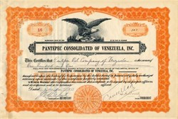 Pantepec Consolidated of Venezuela, Inc. signed by William F. Buckley as President - Delaware 1933