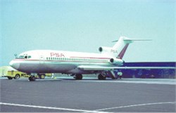 Pacific Southwest Airlines postcard Boeing 727