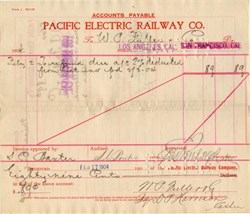 Pacific Electric Railway Co. signed by Henry Edwards Huntington - California 1904