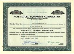 Pari-Mutuel Equipment Corporation (Made Horse Racing Betting Equipment)  - New York 1962
