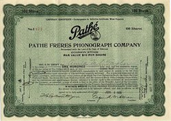 Pathé Freres Phonograph Company - Delaware 1920