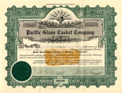 Pacific Glass Casket Company of California - 1919