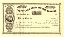 Paterson Horse Railroad Company - Incorporated in 1863 - New Jersey