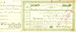 Pacific Land Improvement Company signed by George Fullerton - Los Angeles, California 1887