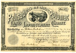 Palisades of the Potomac Land Improvement Company  - Issued to the founder of Washington Post, Stilson Hutchins - 1895