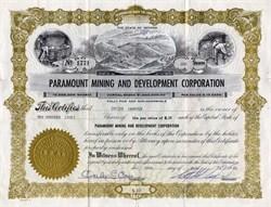 Paramount Mining and Development Corporation - Nevada 1963