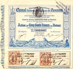 Panama Canal Stock dated 1880 - Ferdinand de Lesseps
