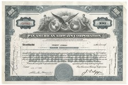 Pan American Airways issued to and signed by Robert Lehman  (Head of Lehman Brothers for decades ) - 1944
