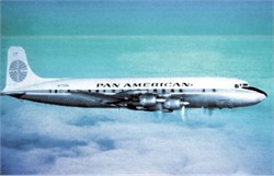 Pan American Airways postcard DC7B 1950's