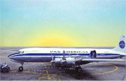 Pan Am Airways postcard of DC7 in 1950's