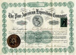 Pan American Exposition Company Stock signed by John Milburn - 1901