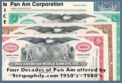 Pan Am Stock during four decades 50's - 80's ( 4 Certificates )
