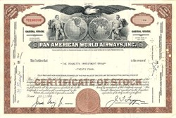 Pan American World Airways, Inc. issued to and signed by the Rockettes Investment Group- New York 1963