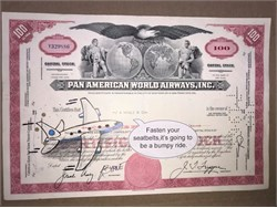 "Pan American World Airways, Inc. Stock Certificate with Original Drawing by Award Winning Artist, Robert Byrne "" Fasten your seat belts, it's going to be a bumpy ride"" hand signed by Robert Byrne."