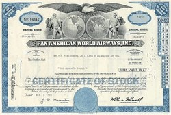 Pack of 100 certificates from Pan American World Airways circa 1970s - Price includes Shipping cost in U.S.