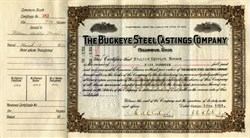 Pack of 100 Certificates - Buckeye Steel Castings Company founded by Great Grandfather of Jeb Bush and George W. Bush - 1930's - Price includes shipping cost in U.S.