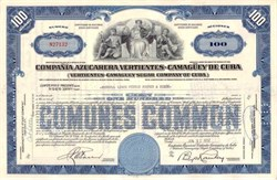 Pack of 100 Certificates - Camaguey Sugar Company of Cuba - Pre Revolution American Sugar Company -  Havana, Cuba - Price includes shipping costs to U.S.