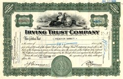 Pack of 100 Certificates - Irving Trust Company (Became Bank of New York Mellon) - 1930's - Price includes shipping cost in U.S.