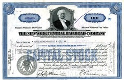 Pack of 100 Certificates - New York Central Railroad Company  - Cornelius Vanderbilt Image - Includes Shipping Costs