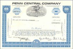 Pack of 100 Certificates - Penn Central Railway Company - Price includes shipping cost in U.S.