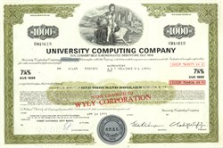 Pack of 100 Certificates - University Computing Company - Convertibile $1,000 Bond - Charles Wyly Jr as President 1970's - Price includes shipping costs to U.S.