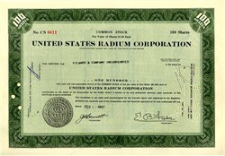 Pack of 100 Certificates - United States Radium Company (Famous Radium Girls Lawsuit and Play) - Price includes shipping cost in U.S.