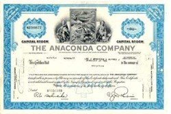 Pack of 100 Certificates - Anaconda Company (Anaconda Copper Mining Company) - Price includes shipping costs to U.S.