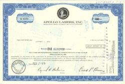 Pack of 100 Certificates - Apollo Lasers Inc (Became Honeywell International)- Price includes shipping costs to U.S.