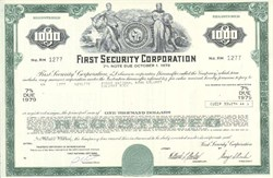 Pack of 100 Certificates - First Security Corporation (Acquired by Wells Fargo) - Price includes shipping costs to U.S.