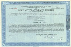 Pack of 100 Certificates - Ford Motor Company, Limited - Price includes shipping costs to U.S.