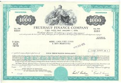 Pack of 100 Certificates - Fruehauf Finance Company - Price includes shipping costs to U.S.
