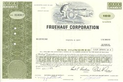 Pack of 100 Certificates - Fruehauf Corporation - Price includes shipping costs to U.S.