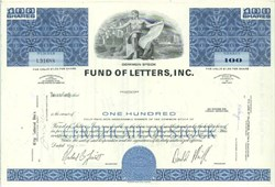 Pack of 100 Certificates - Fund Of Letters, Inc. - Price includes shipping costs to U.S.