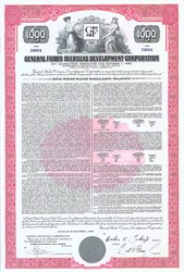 Pack of 100 Certificates - General Foods Overseas Development Corporation $1000 Bond- Price includes shipping costs to U.S.