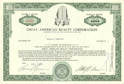 Pack of 100 Certificates - Great American Realty Corporation - Price includes shipping costs to U.S.